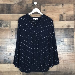 Loft Navy bell sleeve printed blouse size L